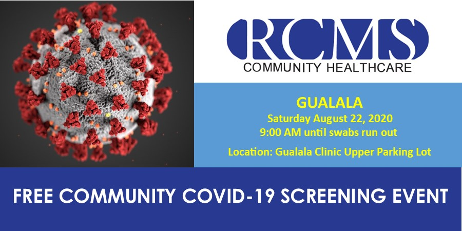 Free COVID-19 Screening Event in Gualala on August 22, 2020